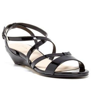 Cole Haan   Black Kierin Leather Wedge Sandal